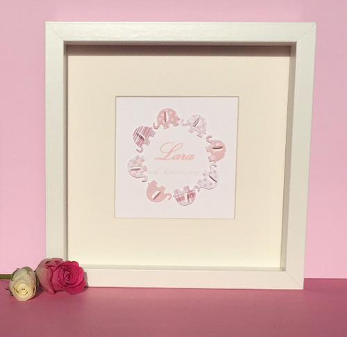 Personalised pink paper elephants picture - new baby girl gift