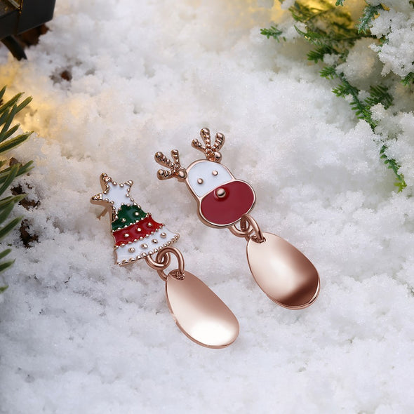 Drop of Christmas tree and Santa Earrings - Shelark
