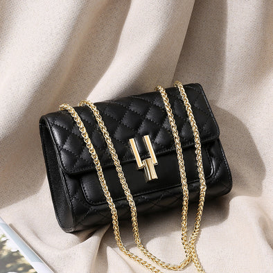 Rhombic lattice Leather Chain Bag