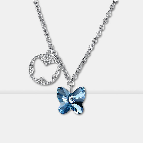 S925 Butterfly Crystal Necklace - Shelark