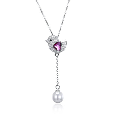 Cute Bird Crystal Necklace - Shelark