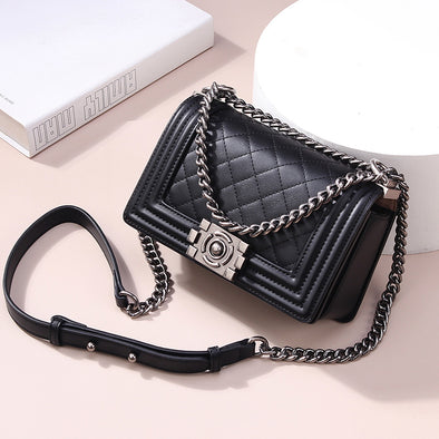 Diamond Chain Leather Shoulder Bag - Shelark