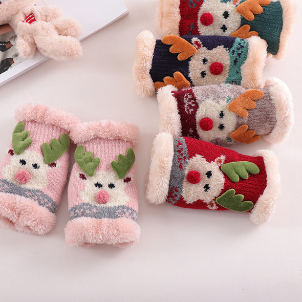 Santa Deer Student Christmas Open Gloves - Shelark
