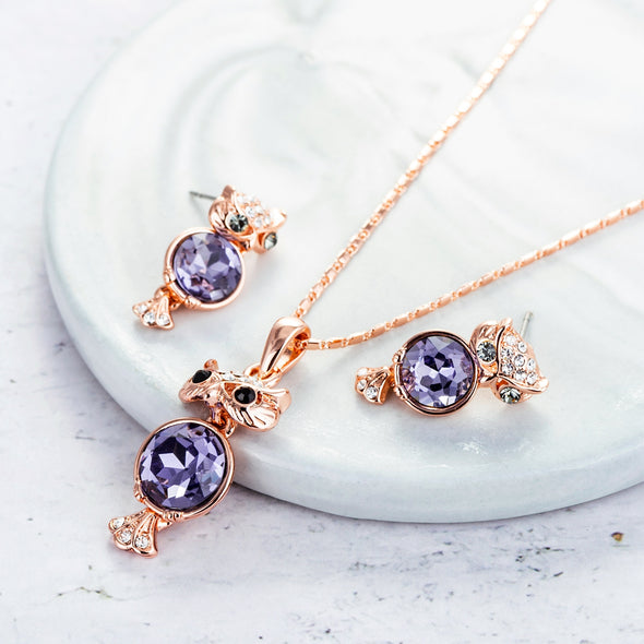 Owl Crystal Jewelry Set - Shelark