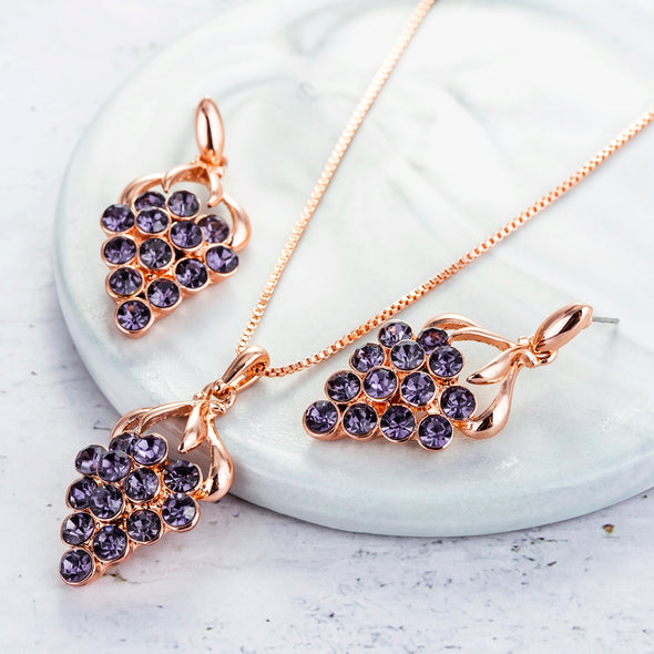 Grape Crystal Jewelry Set - Shelark