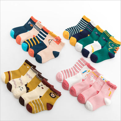 5 Pairs Assorted Animal designs Socks Set for kids, Age 1-3/3-6/6-9/9-12 Years old - Shelark