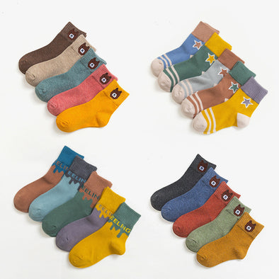 5 Pairs Assorted Socks Set for Children, Age 1-3/3-6/6-9/9-12 Years old - Shelark