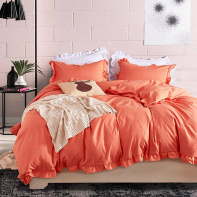 Ruffle Style Bedroom 3 Pieces Set Sunny Orange - Shelark