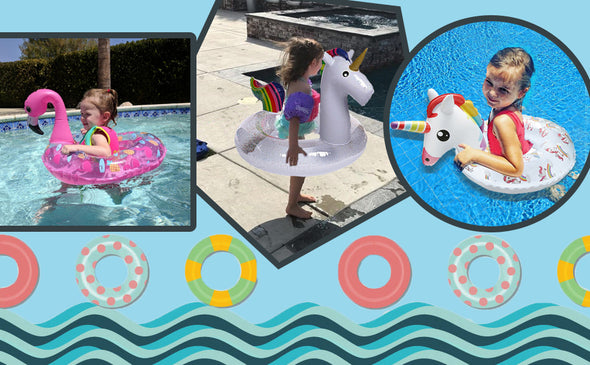Inflatable Pool Float with Glitters Summer Swim Ring for Adults Toddlers - Shelark