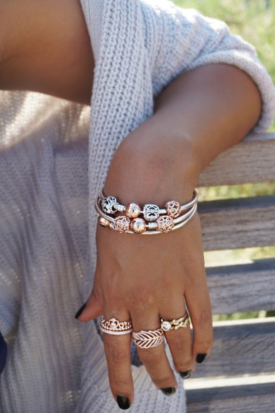 Pandora Rose and silver bracelets and rings