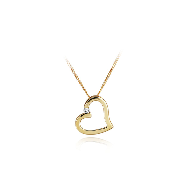 9ct Yellow Gold 0.05ct Diamond Open Heart Pendant