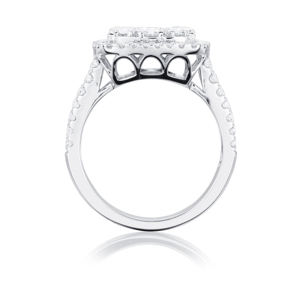 Burrells 18ct White Gold 1.73ct Diamond Large Square Cluster Ring