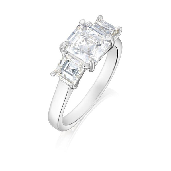 Burrells Platinum 1.71ct HVVS2 Certified Asscher Cut & Carre Cut Diamond Trilogy Ring