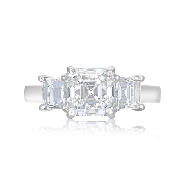 Platinum 1.71ct Asscher and Carre Cut Diamond Three Stone Ring
