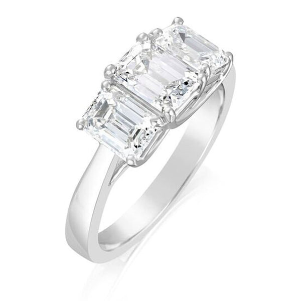 Burrells Platinum 2.34ct Emerald Cut Diamond Trilogy Ring