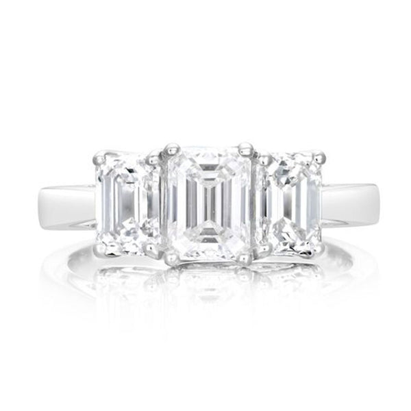 Platinum 2.34ct Emerald Cut Diamond Three Stone Ring