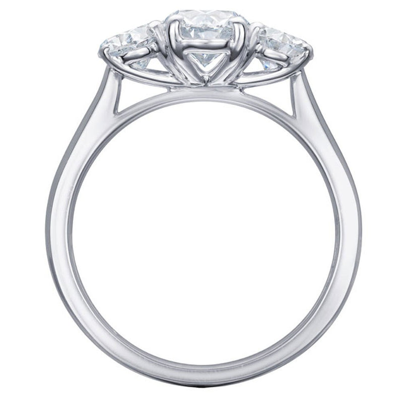 Burrells Platinum 1.73ct D Certified Oval Cut Diamond Trilogy Ring