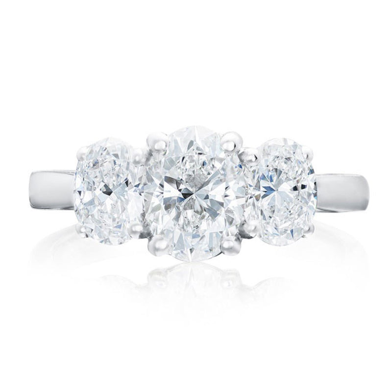 Platinum 2.01ct Oval Cut Diamond Three Stone Ring