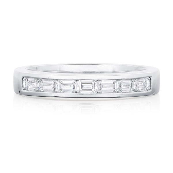 Burrells Platinum 0.60ct Emerald Cut Diamond Half Eternity Ring