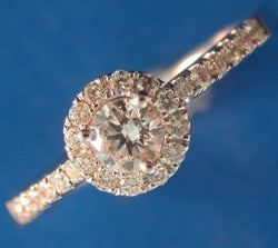 Burrells Platinum 0.50ct Round Brilliant Cut Diamond Shoulder Set Halo Ring