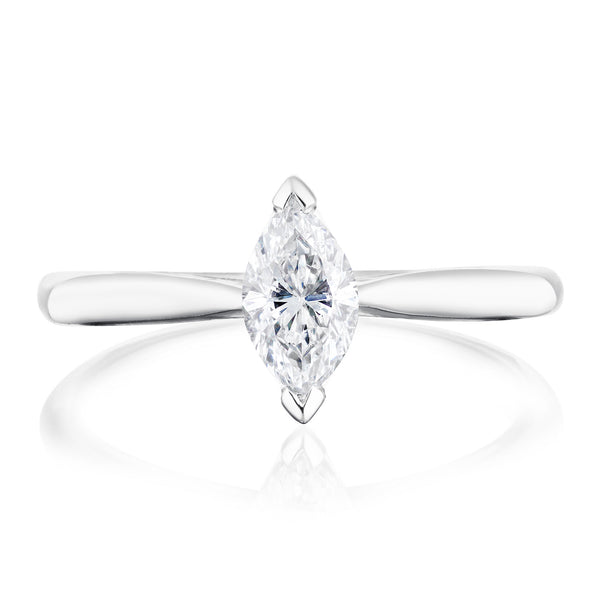 Burrells Platinum 0.57ct Marquise Cut Diamond Solitaire Ring