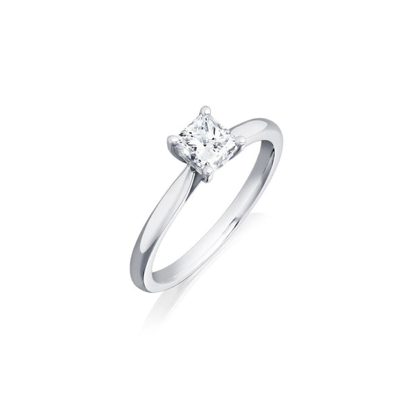 Platinum 0.86ct HVVS2 Certified Princess Cut Diamond Solitaire Ring
