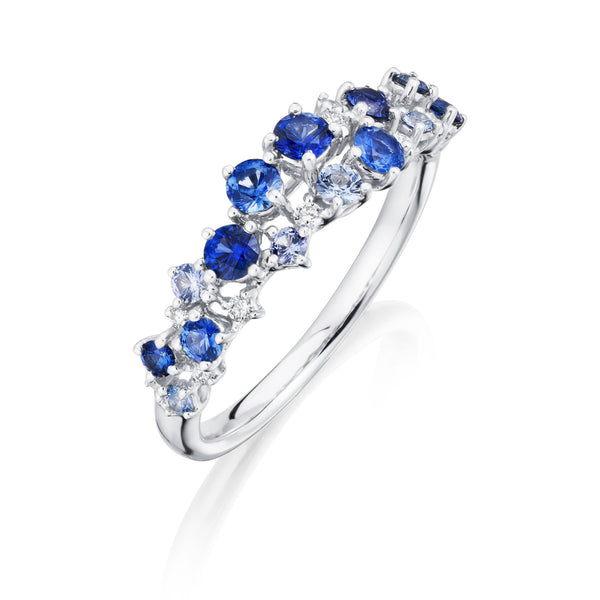 Burrells 18ct White Gold Diamond & Blue Sapphire Scattered Ring