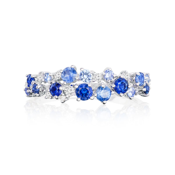 Burrells Ora 18ct White Gold Diamond & Blue Sapphire Scattered Ring