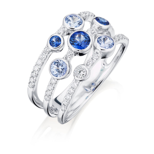 Burrells 18ct White Gold Diamond & Blue Sapphire 3 Row Fancy Ring