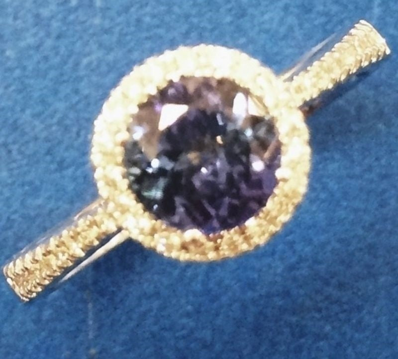 18ct White Gold Tanzanite & Diamond Halo Ring