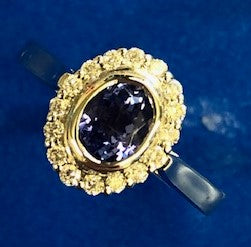 Burrells 9ct White Gold Tanzanite & Diamond Halo Ring