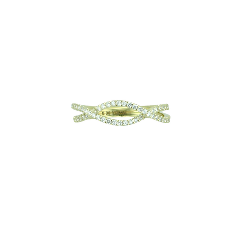 Burrells 14ct Yellow Gold Diamond Crossover Intertwining Ring