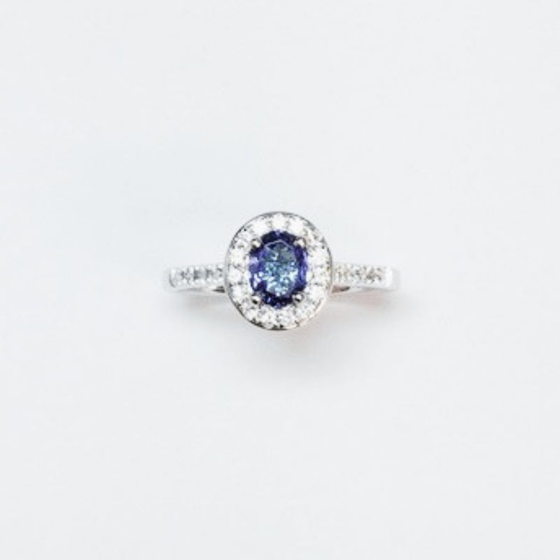 Burrells 18ct White Gold Oval Cut Tanzanite & Diamond Ring