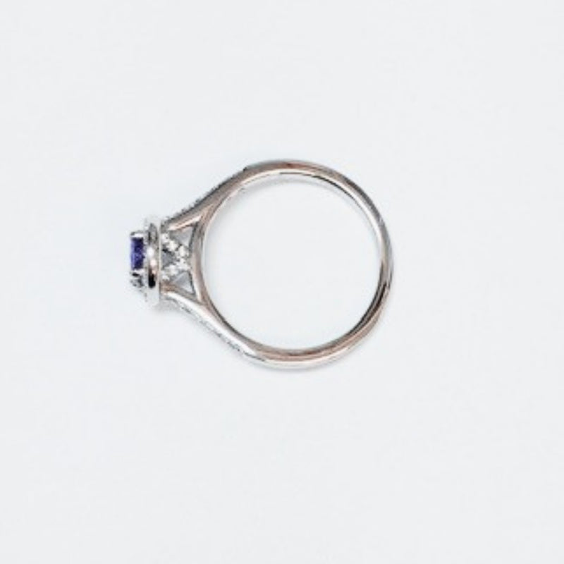 Burrells 18ct White Gold Oval Cut Tanzanite & Diamond Ring side