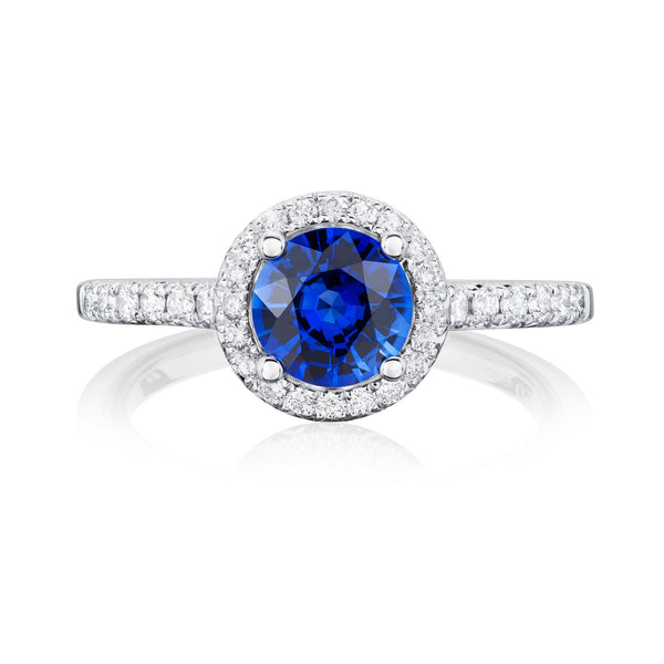 18ct White Gold Blue Sapphire & Diamond Halo Ring