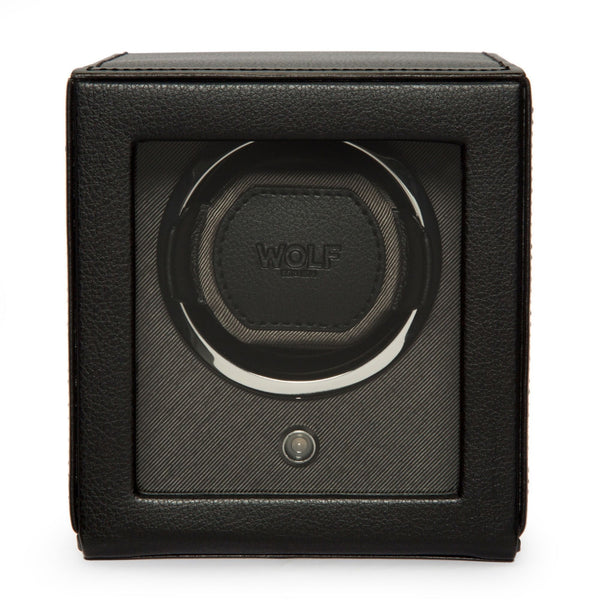 Wolf Cub Single Watch Winder with Cover in black front view