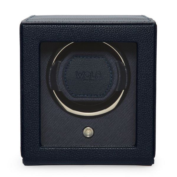 Wolf Cub Single Watch Winder in navy front view