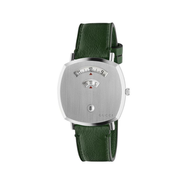Gucci Grip Steel Watch Green Leather 38mm front view