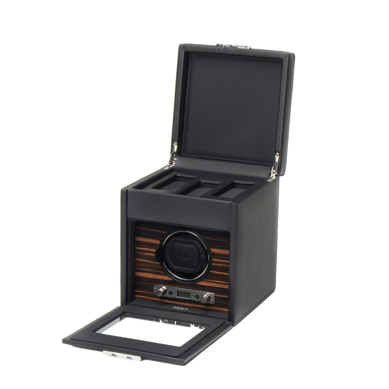 Wolf Roadster Single Watch Winder in black with cover opened angled view