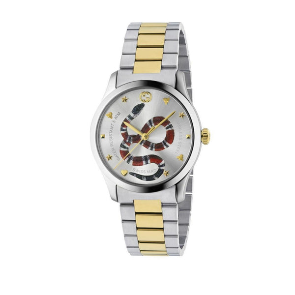 Gucci G-Timeless Snake Motif Gold and Silver 38mm front view