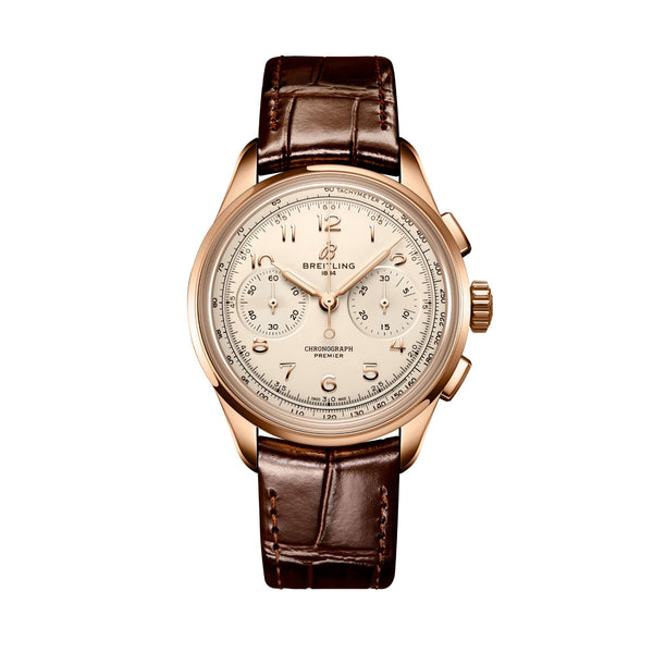 Breitling Premier B09 Chronograph 40 RB0930371G1P1 18K Red gold, brown leather strap