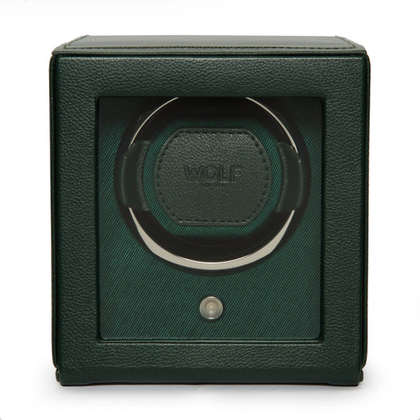 Wolf Cub Single Watch Winder with Cover in green front view