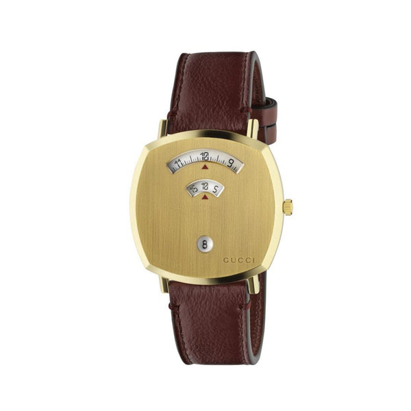 Gucci Grip Yellow Gold PVD Watch Bordeaux Leather 38mm front view