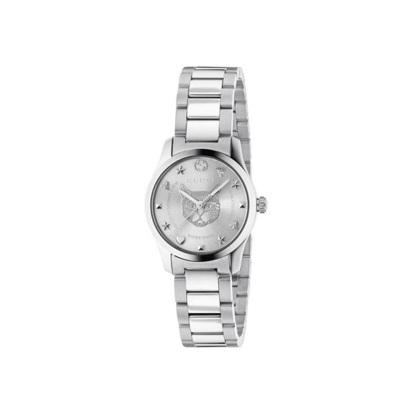 Gucci G-Timeless Stainless Steel Feline Bracelet 27mm front view