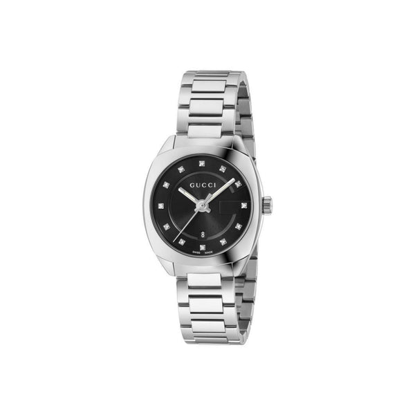 Gucci Women's GG2570 Steel & Black (Diamond Indexes) 29mm front view