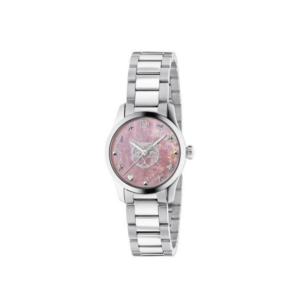 Gucci G-Timeless Pink Mother of Pearl & Steel Feline 27mm front view