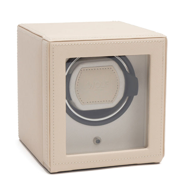 Wolf Cub Single Watch Winder in cream cover closed angled view