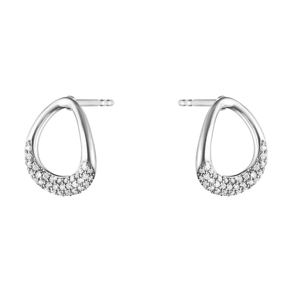 Georg Jensen Sterling Silver & Diamond Offspring Earrings 10015849