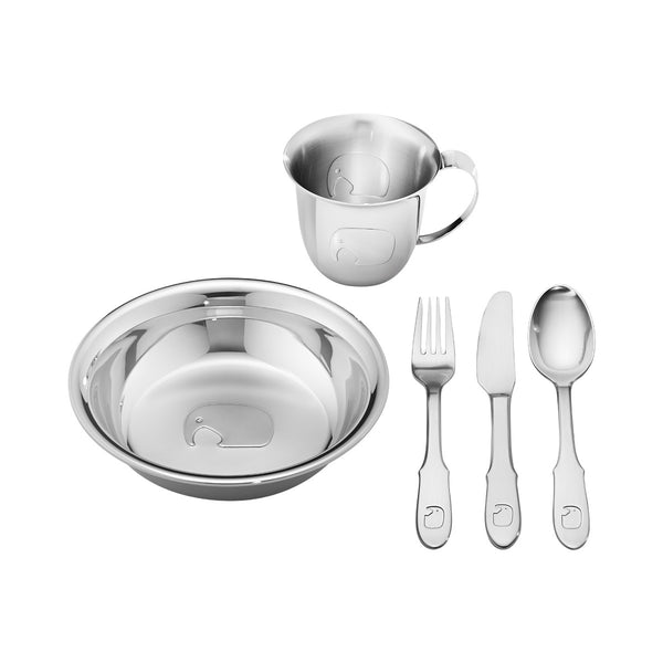 Georg Jensen Silver 5-Piece Elephant Design Children's Dinner Set 3580069