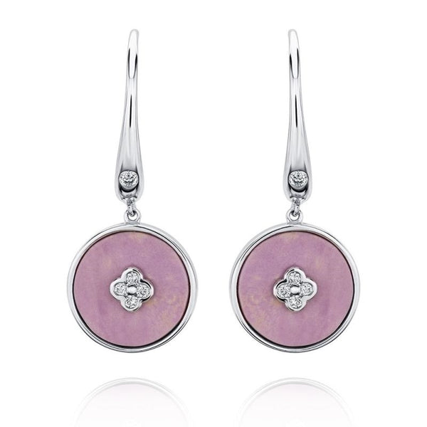Aurelia 18ct White Gold Diamond and Pink Phosphosiderite Drop Earrings